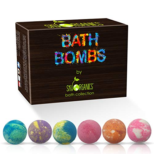 Bath Bombs Gift Set, 6 x 5 Oz Huge Bath Bombs Kit, Best for Aromatherapy, Relaxation, Moisturizing with Natural Essential Oils -Handmade Natural Spa Fizzies