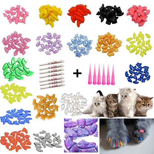 JOYJULY - Juego de 100 Tapas de Uñas para Gato con Diseño de Gato (Incluye 5 Adhesivos + 3 aplicadores con Instrucciones (Idioma español no garantizado)