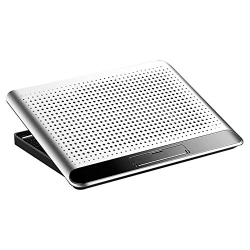 Cutfouwe Laptop Cooling, Laptop Cooling Pad Cooling Site Notebook PC Stand PC Cooler Powerful Ultra Sunny 160mm Super Large Cooling Fan USB Port 2 Mouth USB Connection Frequency Adjustable,Silver
