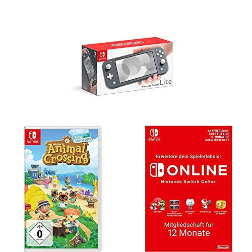 Nintendo Switch Lite, Standard, grau + Animal Crossing: New Horizons [Nintendo Switch] + Online Mitgliedschaft - 12 Monate | Switch Download Code