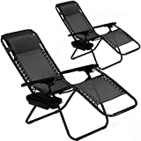 Zero Gravity Chair Patio Chair Lounge Chair Chaise 2 Pack Outdoor Folding Adjustable Recliner Chair with Cup Holder Tray and Pillows for Patio, Pool, Beach, Lawn, Deck, Yard - Black