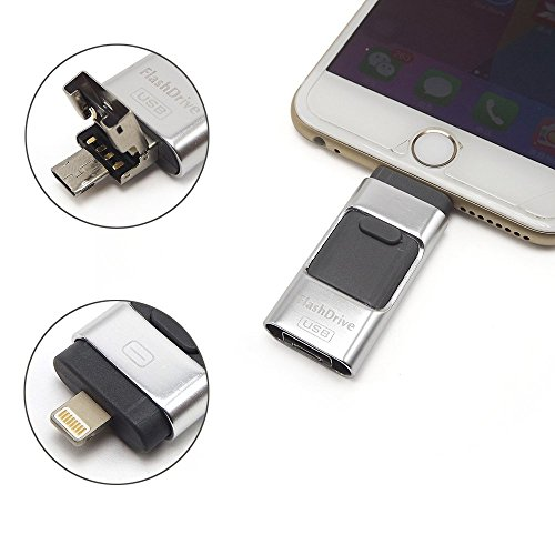eMart Alta Capacidad iPhone USB Flash Drive 64 GB i-Flash U-Disco Tarjeta de Memoria USB para Computadora, iPhone & iPad and Android Smart Phone Series - Plata