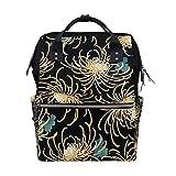 Chino tradicional oro crisantemos flores bolsas de pañales bolsas de gran capacidad multifunción mochila para viajes