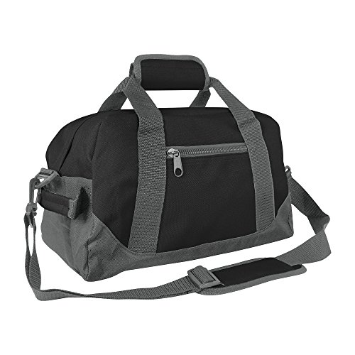 DALIX 14' Small Duffle Bag Two Toned Gym Travel Bag (Black Gray)