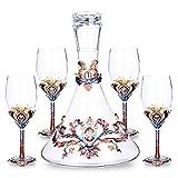 DSAKOX Cinq pièces en Verre de vin Set 750ml Portugais vin Decanter 4 350ml Grands Verres à vin sont adaptés à la réception Banquet