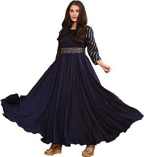 Monika Silk Mill Women's Blue Cotton Silk Embroidered Semi Stitched Long Anarkali Gown