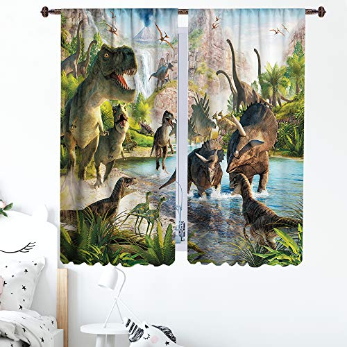 Sevendec Dinosaur Curtains for Kids Room Jurassi Anicient Animals Pattern Window Curtain Panels Decor for Bedroom Rod Pocket 2 Panels W42 x L63