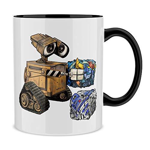 OKIWOKI Star Wars - Wall-E Lustiges Schwarz Tasse - Wall-E, Grendizer und R2-D2 (Star Wars - Wall-E Parodie) (Ref:810)
