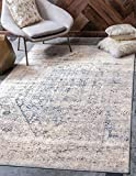 Unique Loom Chateau Distressed Vintage Traditional Textured Square Rug_VIL010, 8 x 10 Feet, Navy Blue/Beige