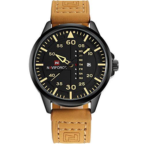 NAVIFORCE Original Genuine Leather Quartz Date Week Waterproof Sport Mens Wrist Watch 9074 Brown