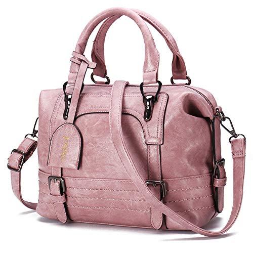 JOSEKO Damen Handtasche, Frauen Stilvolle Schulterbeutel PU Schultertasche Hobos Tote Retro Öl Wachs Kunstleder Umhängetasche Crossbody Tasche für Arbeit Einkaufen(Pink)