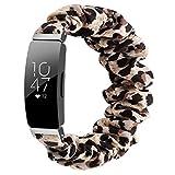 Chofit Correa compatible con Fitbit Inspire 2/Inspire HR/Inspire Correas, correa de repuesto para brazo de gasa de satén para mujer para Inspire 2 Fitness Tracker grande/pequeño (pequeño, leopardo)