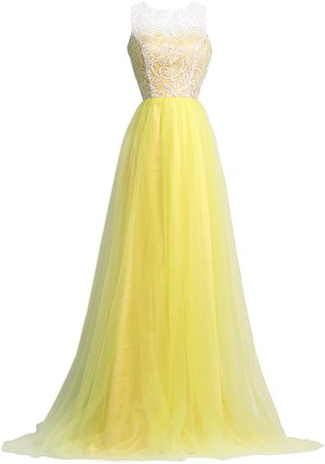 Bonnie clothing Women's Ball Gown Puffy Tulle and Lace Hollow Back Long Evening Party Gown US 16W Yellow