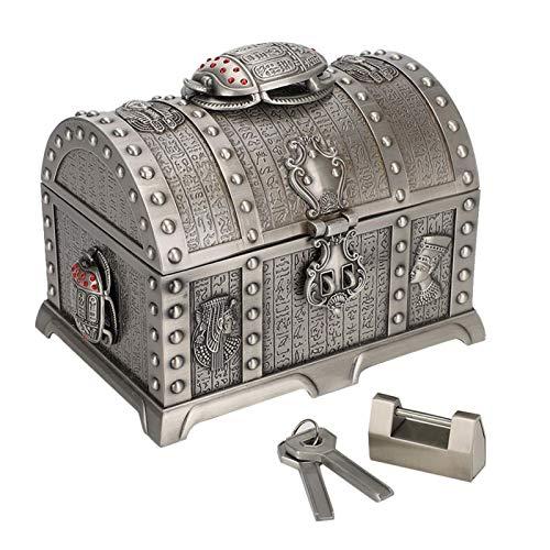 Caja de Almacenamiento de Aleación de Zinc Vintage Cofre del Tesoro Antiguo Joyas Decorativas Caja de Almacenamiento de Juguetes Cofre Pirata Muy Adecuado para Organizar Una Búsqueda del Tesoro con Ni