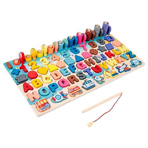 Montessori Matemáticas de madera, juguete educativo, juguete de pesca magnético, número de juego de puzle juguete educativo seguro para los niños