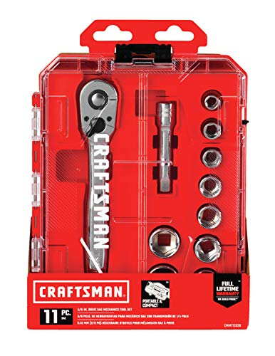 CRAFTSMAN Socket Set with Ratchet, SAE, 3/8-Inch Drive, 11-Piece (CMMT12026)