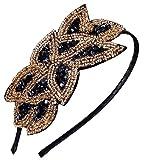 Flapper Headband 1920s Gatsby Leaf Hair Accessory for Women, Black Gold