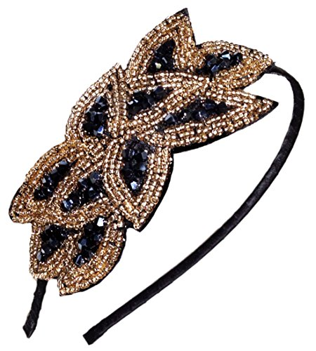 Flapper Headband 1920s Gatsby Leaf Beaded Hair Accessory for Women, Black Gold