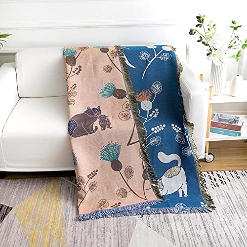 haoyunlai Manta de sofá para cama, manta de sofá, diseño de gato, manta de aire acondicionado, manta de línea para sofá, toalla, azul (130 x 180 cm)