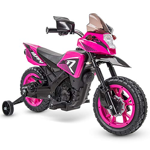 Huffy 6V Kids Electric Battery-Powered Ride-On Motorcycle Bike Toy w/Training Wheels, Engine Sounds, Charger - Pink, 17078P