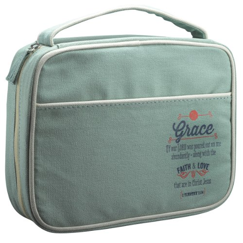 """Retro Blessings """"Grace"""" Washed Cadet Blue Canvas Bible / Book Cover (Medium)"""