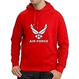 lepni.me Sudadera con Capucha United States Air Force (USAF) - U. S. Army, USA Armed Forces (XX-Large Rojo Blanco)