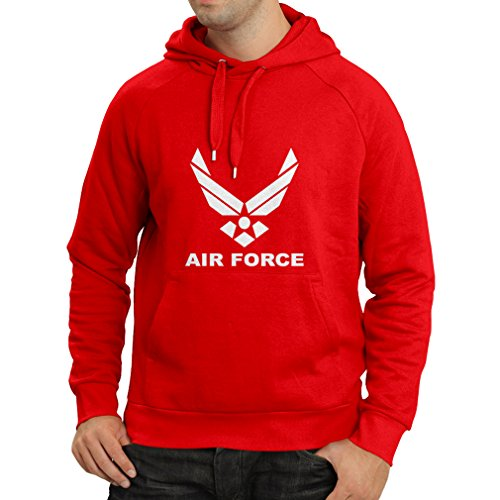 lepni.me Sweatshirt à Capuche Manches Longues United States Air Force (USAF) - U. S. Army, USA Armed Forces (Small Rouge Blanc)