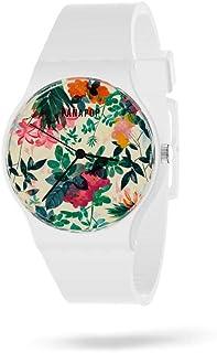 Panapop | Garden | Orologio da polso donna | Stampato fiori | Cinturino bianco in silicone