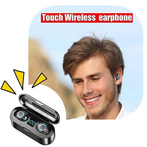 F9 TWS - Auriculares inalámbricos con control táctil, pantalla digital con luz de respiración   5.0 estéreo de carga Bluetooth   Micrófono dual de 2000 mAh   Auriculares deportivos