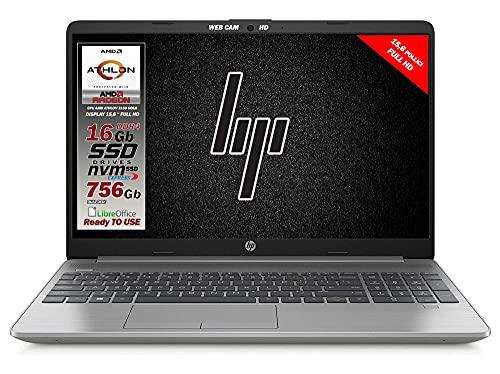 "HP 255 G8 Silver Notebook Portatile, SSD M2 756Gb, Display FullHD 15.6"", Amd A9 Gold 3150U fino a 3,3 GHz, 16GB DDR4, Libre Office, Wi-fi, 3 usb, webcam HD, Win10 Pro, Pronto All'uso, Gar. Italia"