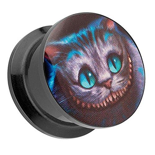 Piercingfaktor Ohr Plug Flesh Tunnel Piercing Ohrpiercing Kunststoff Schraub Schraubverschluß Picture mit Wunderland Grinsekatze Cheshire Cat Katze Motiv 18mm