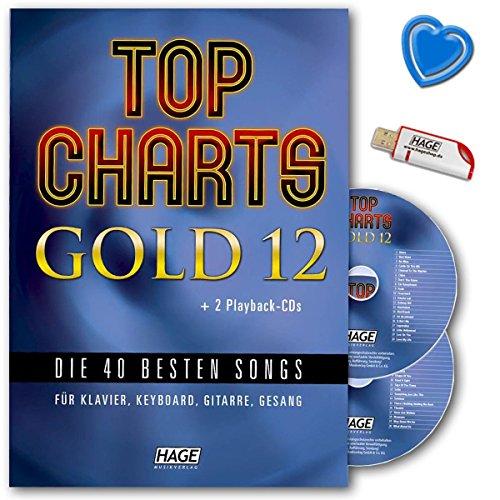 Top hit-parades or 12-40meilleures chansons pour Piano, Clavier, Guitare et chant-SONGBOOK avec 2CD, Clé USB et coloré Cœur Note Pince