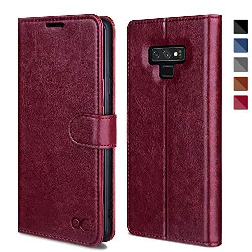 OCASE Samsung Galaxy Note 9 Hülle, Handyhülle Samsung Galaxy Note 9 [Premium Leder] [Standfunktion] [Kartenfach] [Magnetverschluss] Leder Brieftasche für Galaxy Note 9 Burg&y