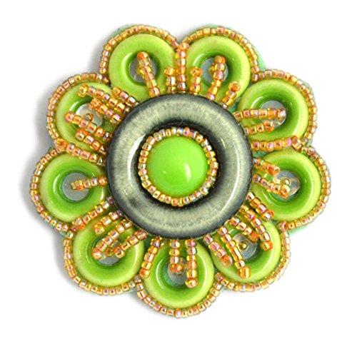 Broche Flor Verde (porcelana y cuentas de cristal–Bijou Fantasía
