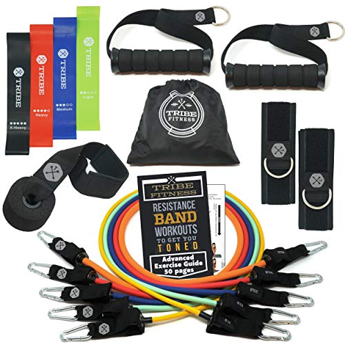 TRIBE Resistance Bands Set with Loop Bands I Exercise Bands for Men with Workout Bands, Loop Bands,...