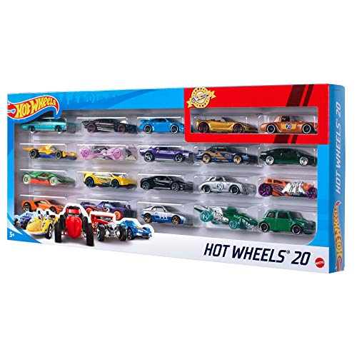 Hot Wheels Pack de 20 vehiculos, coches de juguete (modelos surtidos) (Mattel H7045)