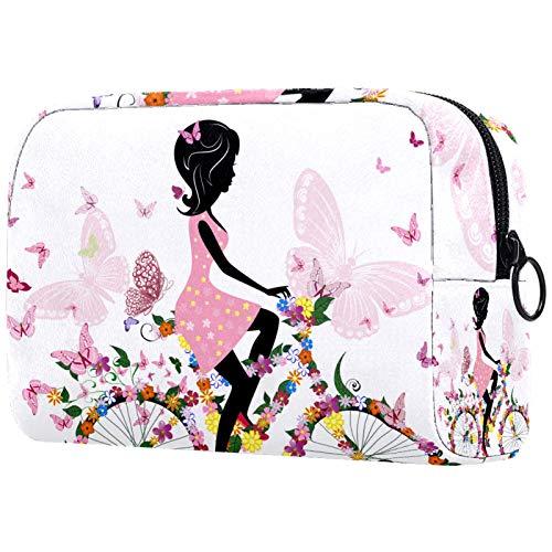 Organizador de cosméticos de viaje con cremallera para mujer, bolsa de aseo gris a cuadros