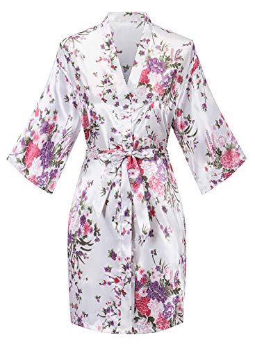 Robes for Women Lightweight Long Sleeve Bathrobe Knee-Length Spa Robe Cherry Blossoms Embroidered with Belt White XL-Size