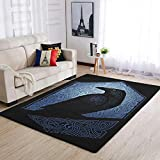 Ginald Durable Viking odin Ravens - Alfombra tradicional para decoración del hogar, 50 x 80 cm, color blanco
