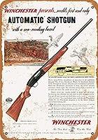 2個 8 x 12 CM メタルサイン - 1954 Winchester World's First Automatic Shotgun メタルプレート レトロ アメリカン ブリキ 看板