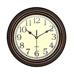 Foxtop 12 inch Silent Non-Ticking Round Classic Clock Retro Quartz Decorative Battery Operated Wall Clock for Living Room Kitchen Home Office, Bronze