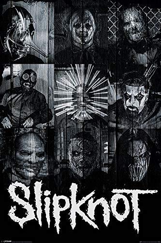 Slipknot Poster di Grandi Dimensioni, Motivo Maschere della Band, Poster in Legno, Multicolore