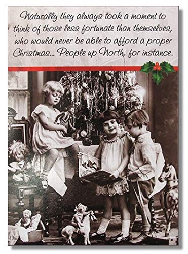 Humorous Christmas Card (PLK- XRH024) People Up North - Black & White Retro Christmas Tree & Girls - from The Rhubarb Pie Range