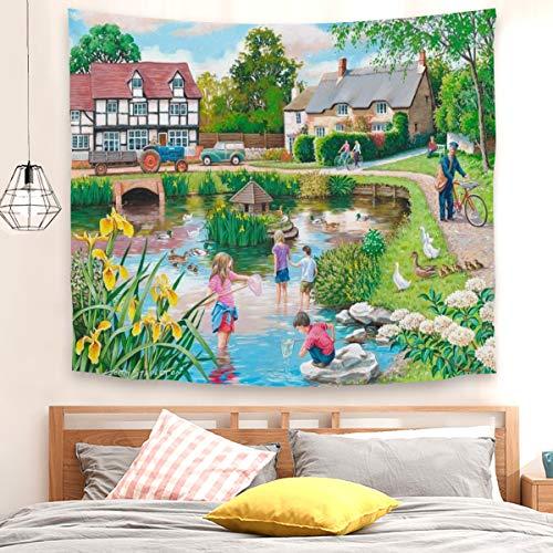 Tapiz de pato para colgar en la pared, decoración de dormitorio para sala de estar, dormitorio (130 x 150 cm)