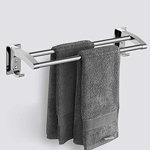 IUYJVR 304 Stainless Steel Towel Rack Wall Mounted Bathroom Towel Shelf Organizer Wall-mounted Towel Rack Hotel Rail Shelf Storage Holder Wall-Mounted With 2 Hooks(Size:42cm)