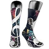 winterwang Calcetines de vestir para hombres de alto rendimiento de moda con personalidad de música abstracta