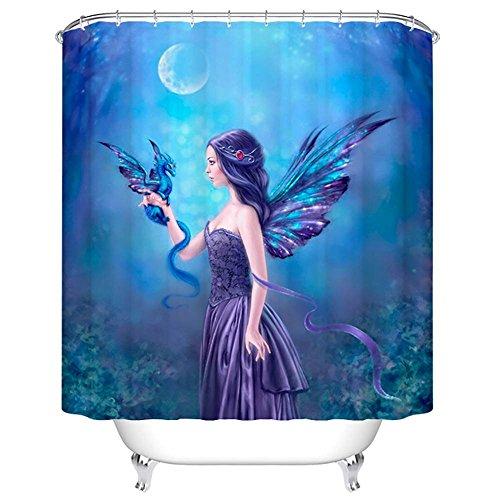 ChezMax Duschvorhang, Feen-Dame mit coolen Flügeln, wasserdicht, mit 12 Haken, 183 x 198 cm (B x L)