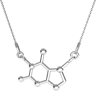 Beforya Paris - CHOCOLATE - Molecule - Necklace 925 Silver - Chemical Formula - The Best Quality - 925 Sterling Silver for Woman - Necklace with Gift Box PIN/75