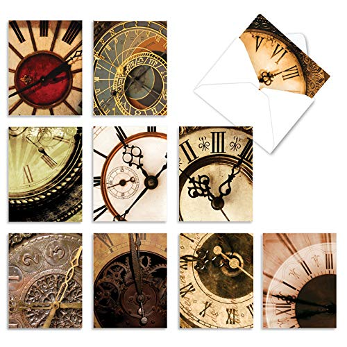 Assortment of 10 Blank Greeting Cards with White Envelopes 4 x 5.12 inch - �Clockworks' Boxed Note Cards for All Occasions - Clock, Time, Watch Stationery Notecard Set M2010