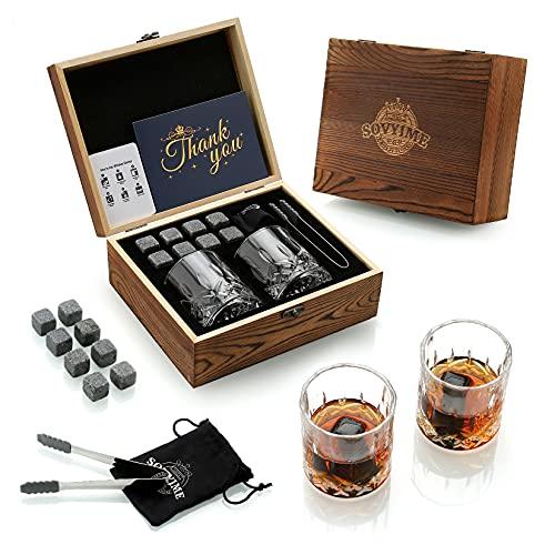 Juego de Regalo de Vasos de Whisky y Piedras Whisky, Botella de Hielo Reutilizables con Caja de Whisky, 8 Piedras Whisky de Granito y 2 Vasos Whisky Cristal, Regalo Para Hombres